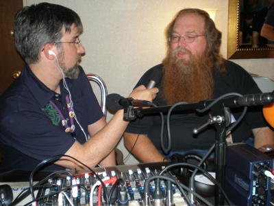 Jason Adams of Lulu interviewing Ronnie at Balticon.